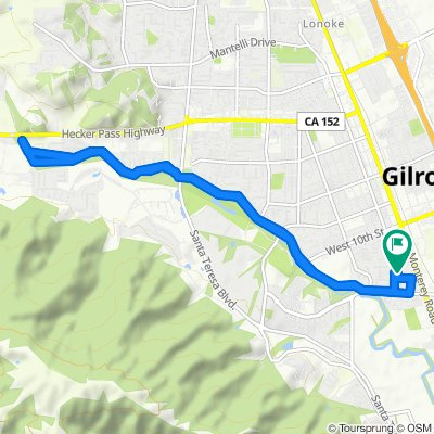 Sporty route in Gilroy