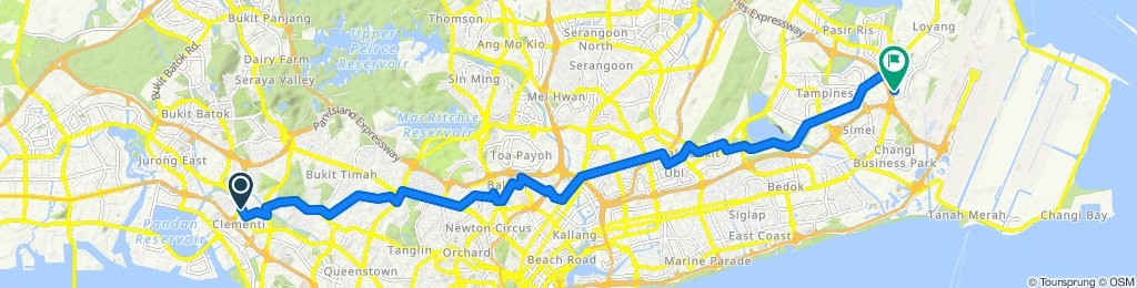 Restful route from Clementi to Upper Changi