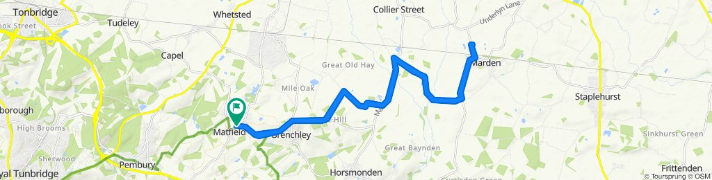 Highlands, Maidstone Road, Tonbridge to Bosbury, Maidstone Road, Tonbridge done by 11 year old men's bike 27km