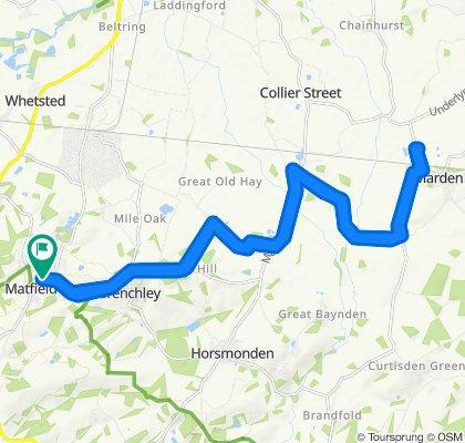 Highlands, Maidstone Road, Tonbridge to Bosbury, Maidstone Road, Tonbridge done by 11 year old men's bike 27km