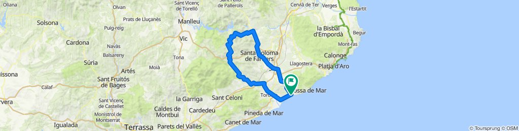 Lloret de Mar - Santa Coloma - Arbúcies - Blanes - Lloret de Mar. Rennrad Katalonien