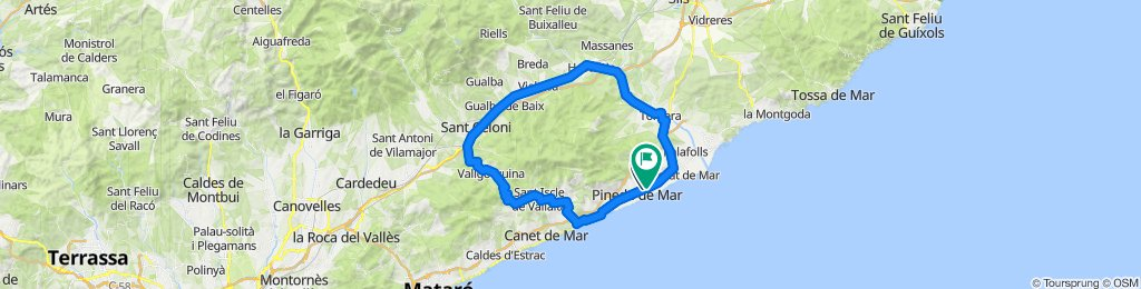 Santa Susanna - Calella - Sant Celoni - Hostalric - Santa Susanna. Rennrad Katalonien