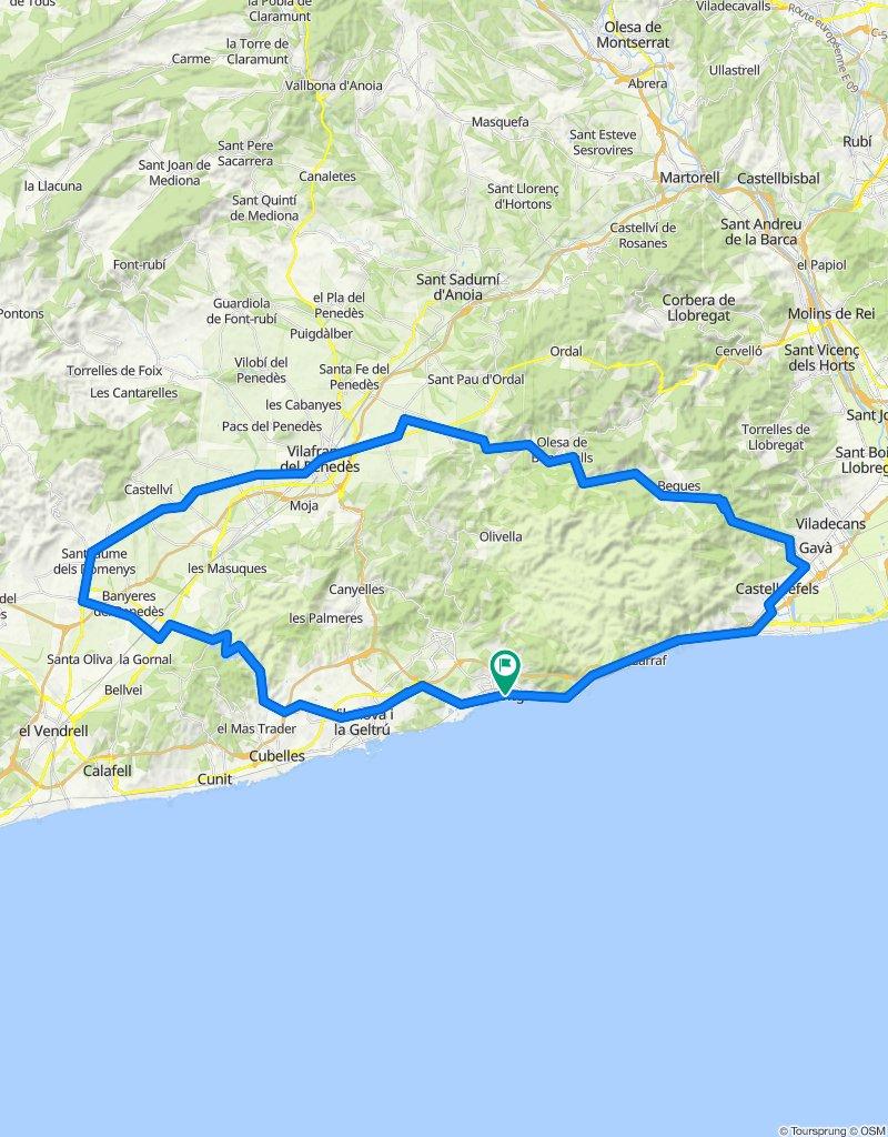 Sitges - Begues - Vilafranca del Penedès - Pantà de Foix - Sitges. Rennrad Katalonien