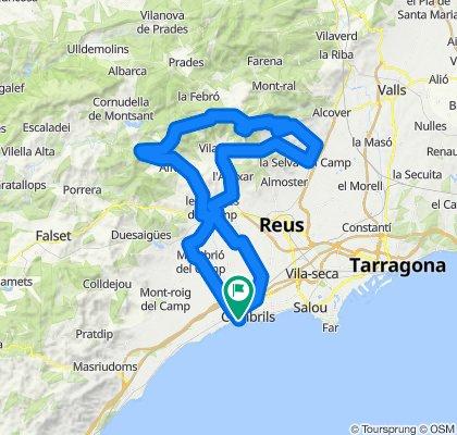 Cambrils - La Selva - Alforja - Montbrió - Cambrils. Rennrad Katalonien