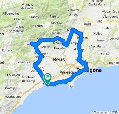 Cambrils - Montbrió - Alcover - Tarragona - Cambrils. Rennrad Katalonien
