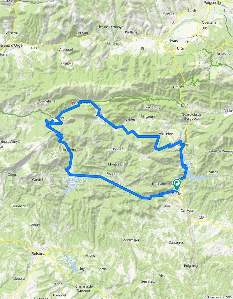 Berga - Pedraforca - Berga. Rennrad Pyrenäen. Katalonien