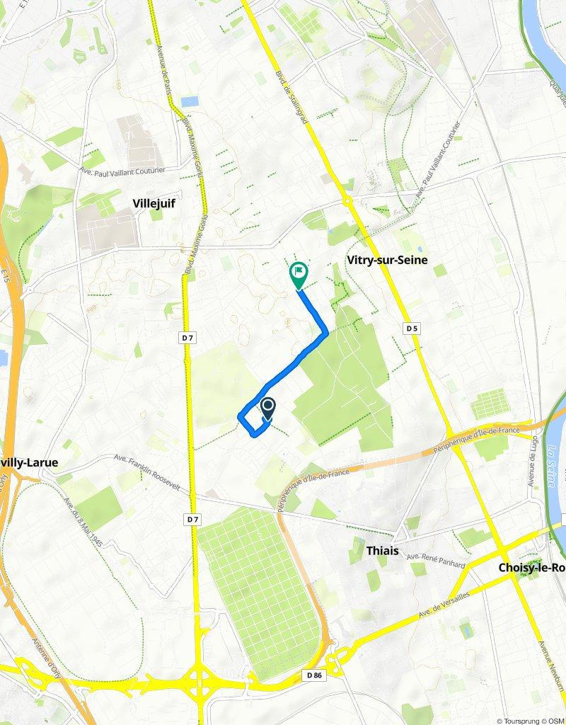 Itinéraire confortable en Vitry-sur-Seine