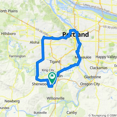45 mi, 2788ft city route