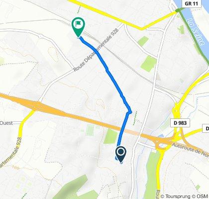 2 Rue de l'Église, Mantes-la-Ville to Rue Jean Jaouen, Mantes-la-Ville