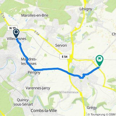 4 Rue d'Yerres, Villecresnes to Chemin de Brie à Cossigny, Brie-Comte-Robert