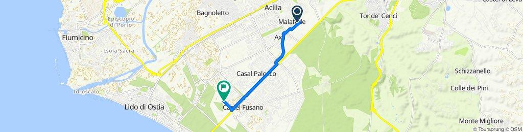 Via Gianfilippo Usellini 598, Acilia to Viale del Circuito 70, Roma