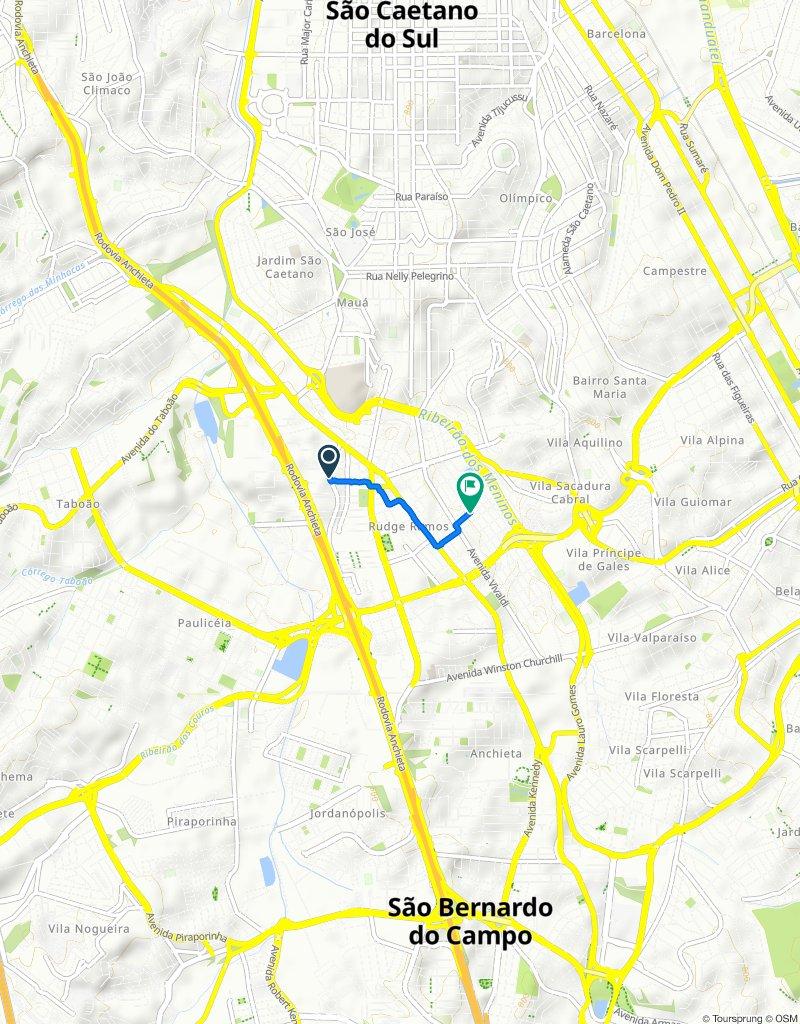 Rua do Sacramento, 291–327, São Bernardo do Campo to Rua Almirante Barroso, 168, São Bernardo do Campo
