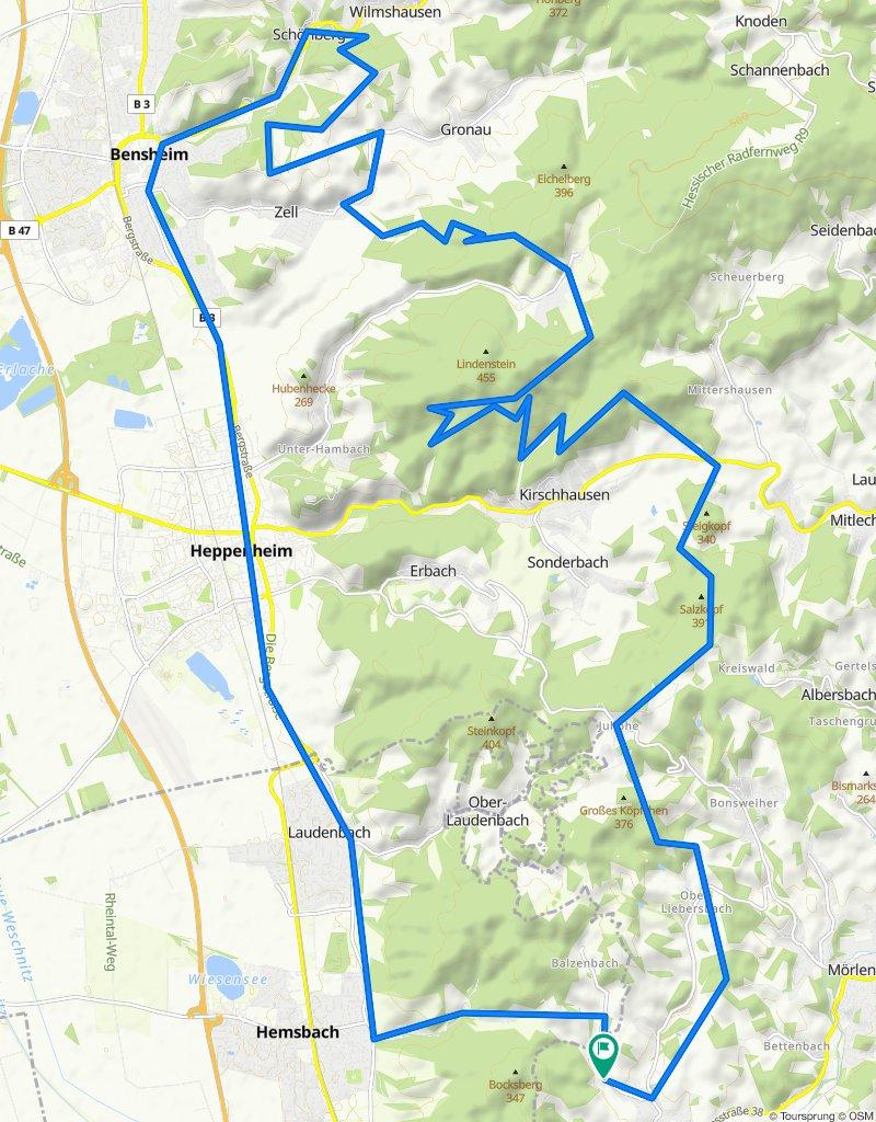 51,4 km NL Bensheim und zurück