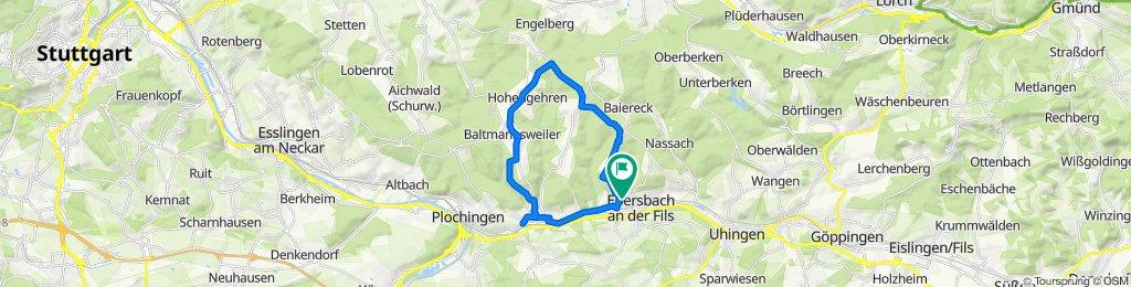 Gerade Fahrt in Ebersbach an der Fils