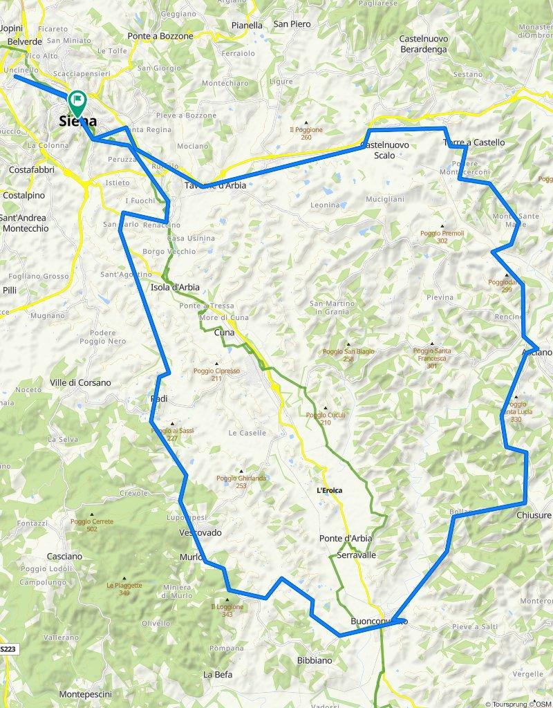 Siena - Buonconvento - Monte Sante Marie - Siena