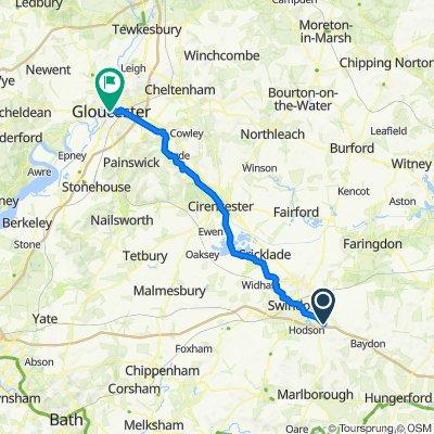 B4192, Swindon to 2–4 Northgate Street, Gloucester