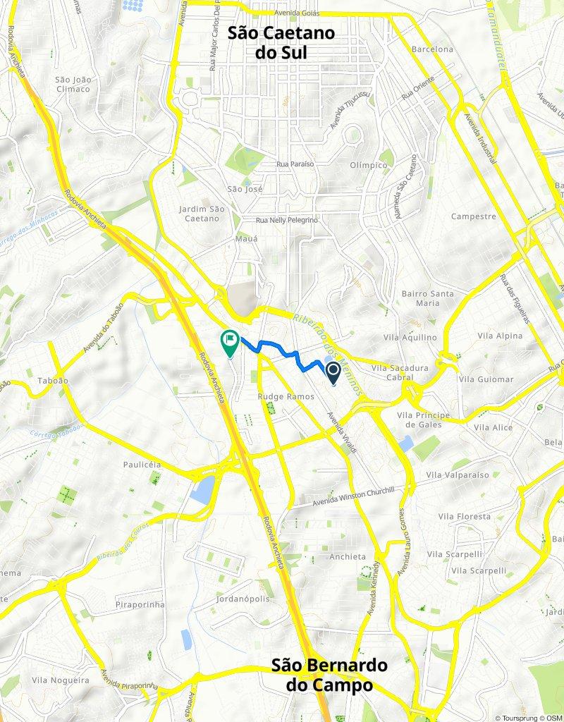 Rua Almirante Barroso, 213–237, São Bernardo do Campo to Rua do Sacramento, 249, São Bernardo do Campo