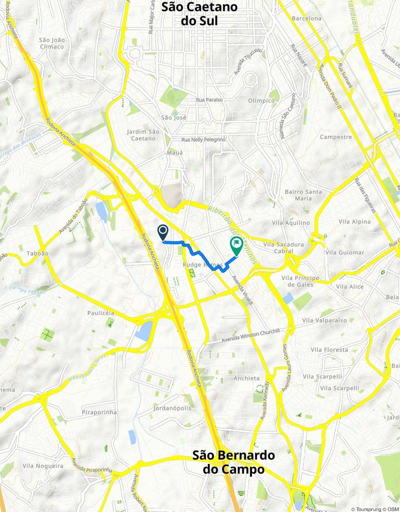 Rua do Sacramento, 291–327, São Bernardo do Campo to Rua Almirante Barroso, 213–237, São Bernardo do Campo