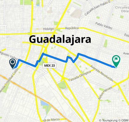 Calle Tabachín 1334–1346, Guadalajara to Calle Pensador Mexicano 2386, Guadalajara