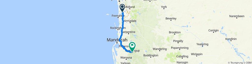 Perth to dwellingup via mandurah/pinjarra