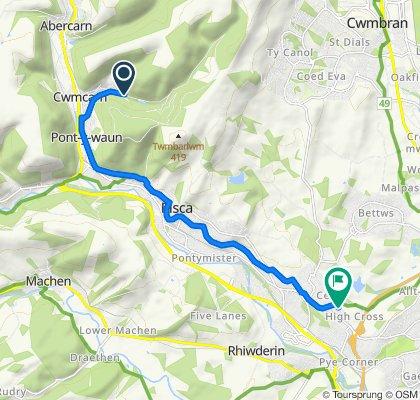 Cwmcarn Forest Drive, Newport to 13 Cwm Lane, Newport