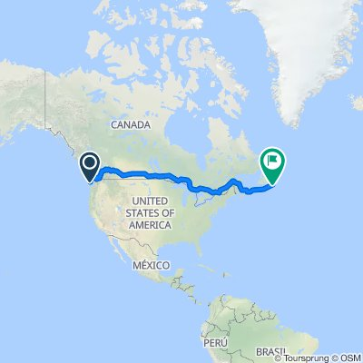 1010000 Mainline 1 - Victoria, BC to Cape Spear, NL 7,212km (6,594.8km cycling and 617.2km in Ferries)