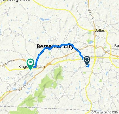 1812 Westbrook Cir, Gastonia to S Cherokee St, Kings Mountain