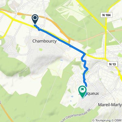 80 D113, Chambourcy to 3–10 Impasse du Val, Fourqueux