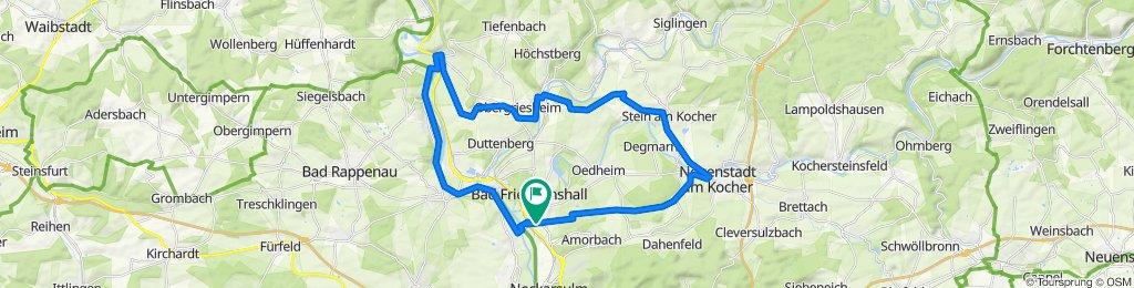 BFH Kochendorf/Zuhause - Bramb' Hof - Neuenstadt - Ko'türn - Stein - Lobenb' Hof - Hohe Straße - U'griesheim - O'griesheim - Gundelsheim - Heinsheim - Neckar - BFH Kochendorf/Zuhause