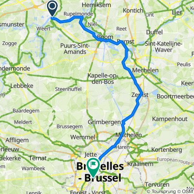 Scheldt, Temse village to Brussels via rivers and canals