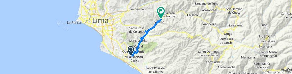 De Avenida Zarumilla 2020, Cercado de Lima a Unnamed Road, Cieneguilla