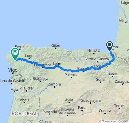 Irun to Santaiago de Compostelle