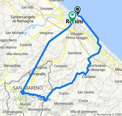 Da Viale Paolo Mantegazza 20, Rimini a Via Aurelio Saffi 18, Rimini