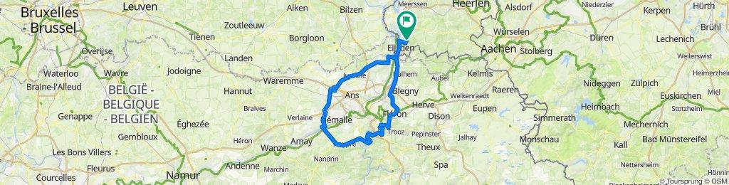 Route rondom Liege 108 K 1000Hm