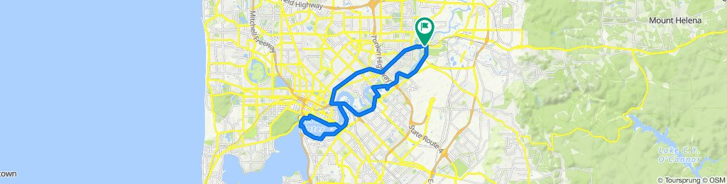 Guildford train station to city river and back loop, majority on bike path