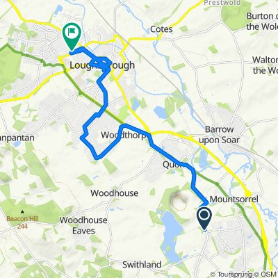 Relaxed route in Loughborough in