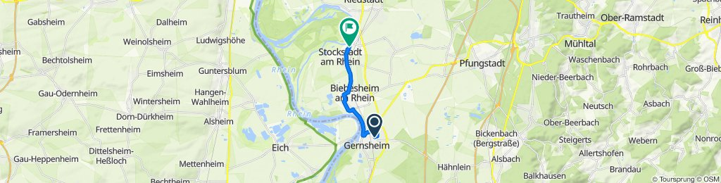 Theodor-Heuss-Straße 16A, Gernsheim to Friedrich-Ebert-Straße 8A, Stockstadt am Rhein