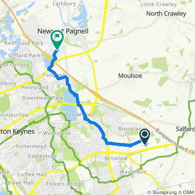 Route to 23 Petersham Close, Newport Pagnell