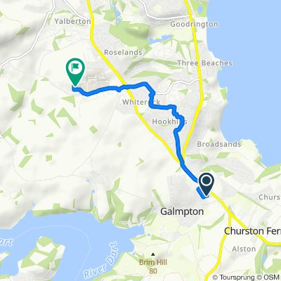 Route from 23 Manor Bend, Brixham