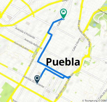Avenida 25 P 321, Puebla to Calle Héroe de Nacozari 2604, Puebla