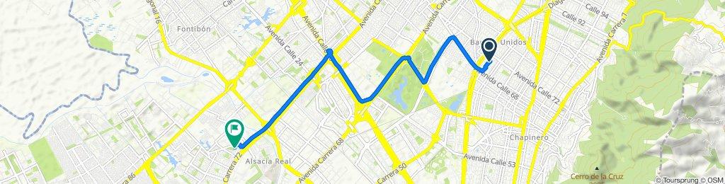 De Carrera 29A 71-64, Bogotá a Carrera 72b 11 B-66, Bogotá