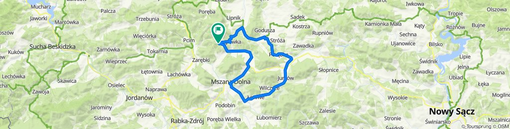 Węglówka - Wierzbanowa - Jurków - Mszana Dolna - Kasina Wielka - Węglówka