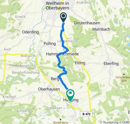 Krottenkopfstraße 57A, Weilheim in Oberbayern nach Hauptstraße 43, Huglfing