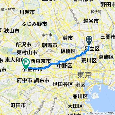 2-chōme 19, Adachi City to 2-chōme 1, Kokubunji