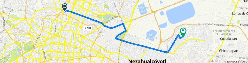 De Schumann 210BIS, Ciudad de México a Avenida Organización Popular 33, Chimalhuacán