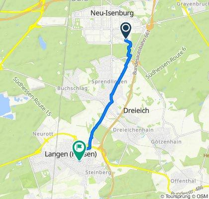Lärchenweg 17, Neu-Isenburg to Bahnstraße 11, Langen