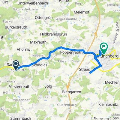 Förstenreuth 53, Stammbach nach Kirchplatz 6, Münchberg