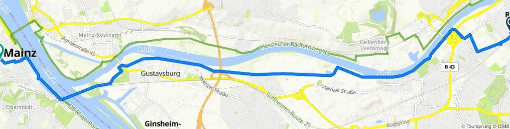 Ringstraße 65, Raunheim to Große Langgasse 1A, Mainz