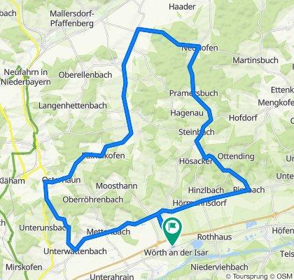 Wörth-Postau-Rimbach-Dreifaltigkeitsberg-Hösacker-Mühlhausen-Süßkofen-Pramersbuch-Neuhofen-Osterham-Greilsberg-Bayerbach-Paindlkofen-Osterhaun-Martinshaun-Unter