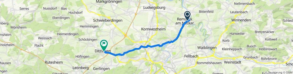 Meslay-du-Maine-Straße, Remseck am Neckar to Kirchgartenstraße 2, Ditzingen